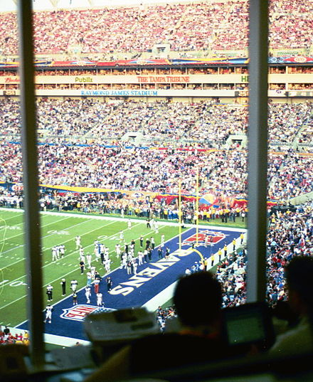 Football Photos - 2001 Super Bowl - A view of the endzone from the press box