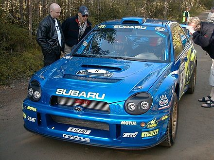 Motorsports Photos - World Rally Championship - Richard Burns in his Subaru Impreza WRC after a Finnish stage.