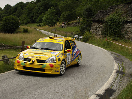 Motorsports Photos - World Rally Championship - A Super 1600 class Renault Clio.