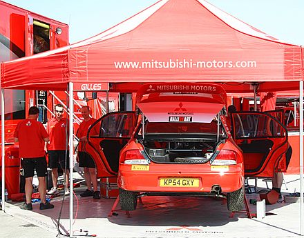 Motorsports Photos - World Rally Championship - Mitsubishi service park at the 2005 Cyprus Rally.