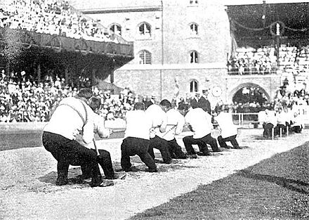Olympics Photos - 1912 Summer Olympics - The only tug of war bout which took place at the 1912 Games