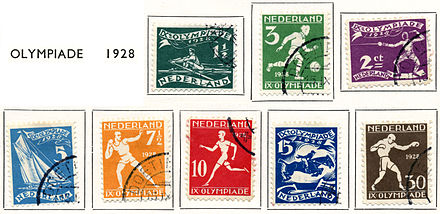 Olympics Photos - 1928 Summer Olympics - Eight Dutch stamps from 1928, showing different sports of the 1928 Summer Olympics