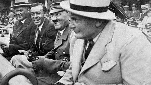 Olympics Photos - 1936 Summer Olympics - Adolf Hitler and Hermann Göring watching events in the Berlin Olympic Stadium.