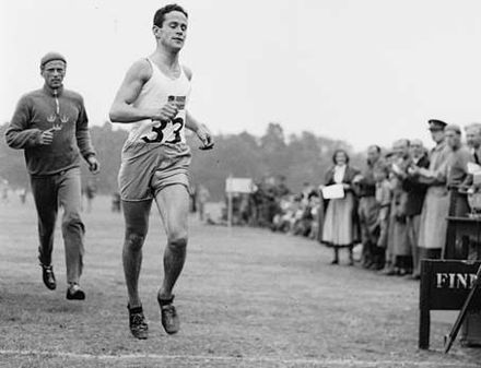 Olympics Photos - 1948 Summer Olympics - Gold medalist William Grut of Sweden (foreground) competing in the running component of the modern pentathlon.