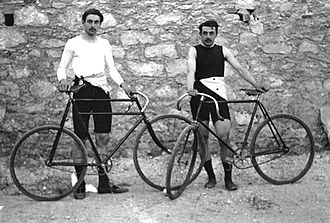 Olympics Photos - 1896 Summer Olympics - Frenchmen Léon Flameng (left) and Paul Masson won four cycling events.