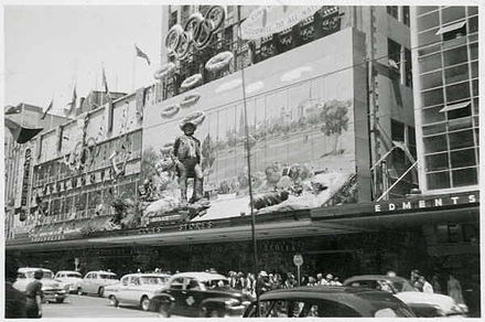 Olympics Photos - 1956 Summer Olympics - Coles Olympic Games decorations, December, 1956. Bourke Street, Melbourne.