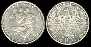 Olympics Photos - 1972 Summer Olympics - Munich Olympics commemorative 10-mark coin, 1972