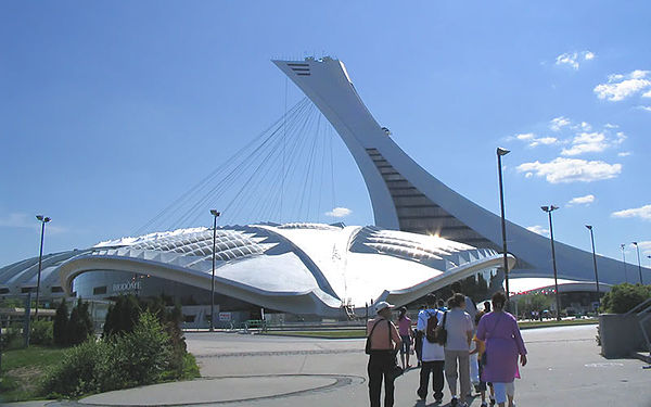 Olympics Photos - 1976 Summer Olympics - Velodrome (foreground) and Olympic Stadium (its tower completed after the Games), Montreal