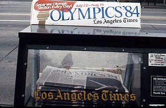 Olympics Photos - 1984 Summer Olympics - Newspaper vending machine bringing news of the 1984 Summer Olympics.