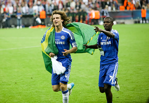 Soccer Photos - David Luiz - Luiz (left) with Ramires after the 2012 UEFA Champions League Final.