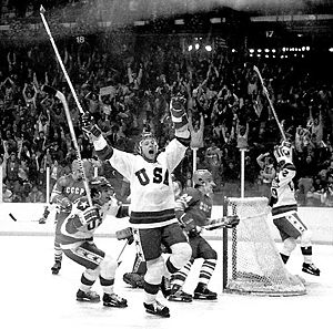 "Olympics Photos - Miracle on Ice - 1980 Olympic Winter Games - The ""Miracle on Ice"" is the nickname given to a February 22 medal-round men's ice hockey game during the 1980 Olympic Winter Games, in which a team of amateur and collegiate players from the United States, led by coach Herb Brooks, defeated the Soviet Union team, who were considered to be the best international hockey team in the world, 4-3."