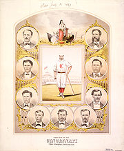 "Baseball Photos - Cincinnati Red Stockings - An 1869 lithograph of the Red Stockings' ""First Nine""."