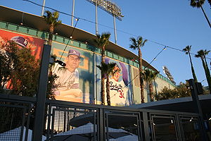 Baseball Photos - Brooklyn Bridegrooms - Former Dodger greats adorn the exterior of Dodger Stadium