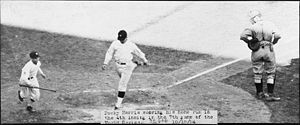 Baseball Photos - Minnesota Twins - Washington's Bucky Harris scores on his home run in the fourth inning of Game 7 of the 1924 World Series.