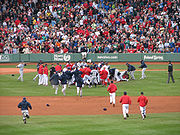 Baseball Photos - Tampa Bay Devil Rays - The Rays and Red Sox brawl at Fenway Park on June 5