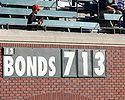 Baseball Photos - Barry Bonds - A sign counts up to Barry Bonds' 714th home run