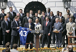 Football Photos - Peyton Manning - Manning and the 2006 Colts visit President George W. Bush at the White House.