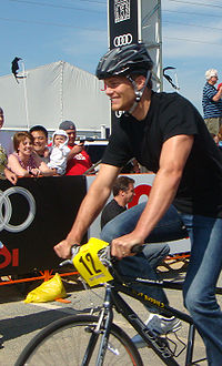 Football Photos - Tom Brady - Tom Brady riding a bicycle for charity at the Best Buddies Ride in Hyannis