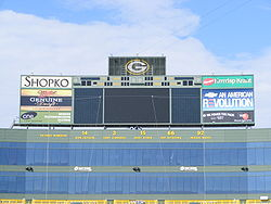 Football Photos - Green Bay Packers - Retired numbers on display in the Lambeau Field's north end zone in October 2007