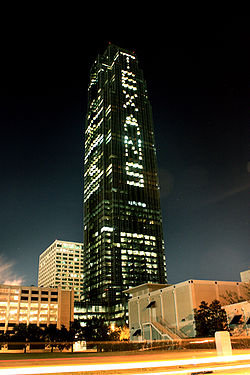 "Football Photos - Houston Texans - The Williams Tower in Houston showing the word ""TEXANS"" using its office lights."