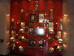 Football Photos - San Francisco 49ers - 49ers wall of trophies at the Marie P. DeBartolo Sports Centre.