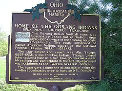Football Photos - Oorang Indians - Ohio Historical Marker Honoring the Oorang Indians