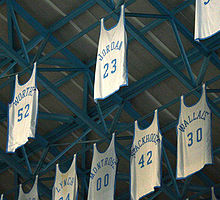 Basketball Photos - Michael Jordan - Michael Jordan's jersey in the rafters of The Dean Smith Center