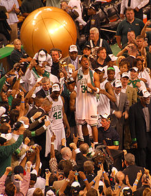 Basketball Photos - Boston Celtics - The Celtics celebrate after winning the 2008 Championship.