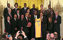 Basketball Photos - Los Angeles Lakers - The Lakers at the White House following their 2009 NBA championship.